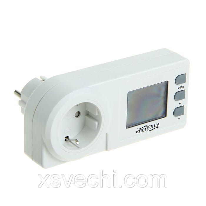 Измеритель мощности Energenie EG-EM1, однорозеточный, дисплей с часами, белый