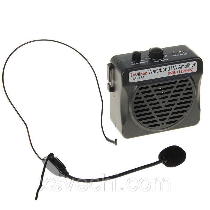 Мегафон поясной TerraSound М-161, 10 Вт, AUX, аккумулятор