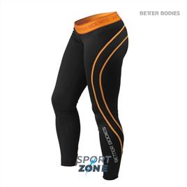 Спортивные леггинсы Better bodies Athlete tights, черный/оранж