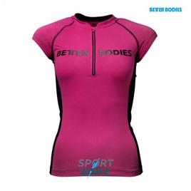 Футболка женская Better bodies Zipped tee,  розовая с черным