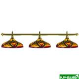 Лампа на три плафона «Colorful» (золотистая штанга, цветной плафон D44см), интернет-магазин товаров для бильярда Play-billiard.ru