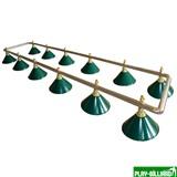 Лампа на двенадцать плафонов «Evergreen» (серебристо-золотистая штанга, зеленый плафон D35см), интернет-магазин товаров для бильярда Play-billiard.ru
