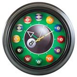 """Часы настенные """"12 шаров"""" D30 см (черные), металл, интернет-магазин товаров для бильярда Play-billiard.ru"""
