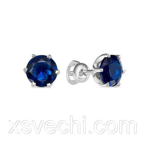 Пусеты из серебра 925 пробы с синими фианитами - 934