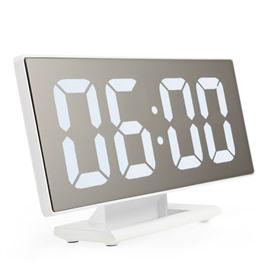 LED часы Настольные зеркальные часы DS-3618L (белый корпус, белые цифры)