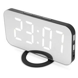 зеркальные часы Электронные настольные/настенные зеркальные часы с USB (черный корпус, зеленые цифры)