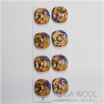 Набор керамических пуговиц 18х18 мм, Разноцвет, 4 шт., арт. 02