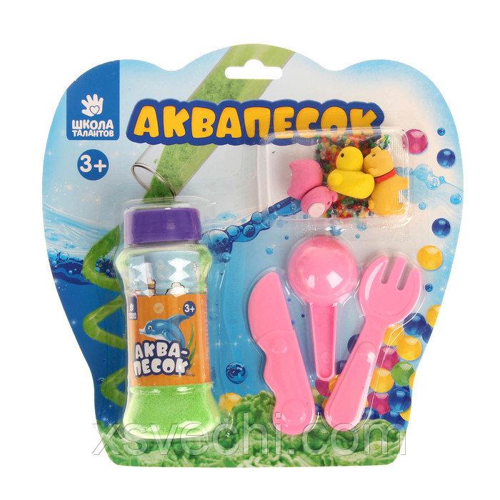 """Набор аквапеска """"Веселая ферма"""" с игрушками, песок зеленый 100 гр, гидрогель 15 гр, лопатки 262449"""