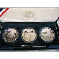 1 доллар 1994 США набор 3шт  Ветераны Серебро ПРУФ