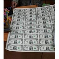Лист 1 долларовых банкнот 50$