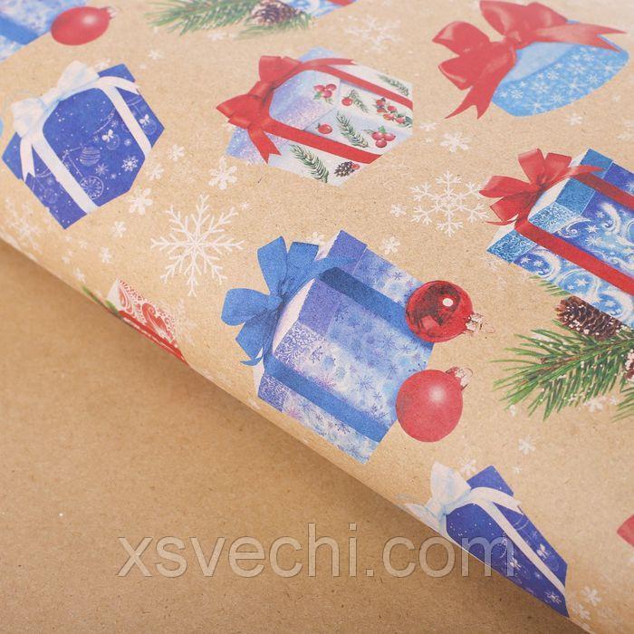 """Бумага упаковочная крафт """"Новогодние подарки"""", 50х70 см"""