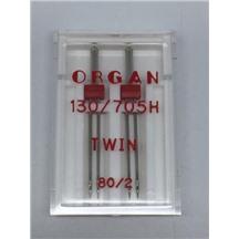 Иглы ORGAN двойные 130/705H №2-80 (в упак 2шт) пластиковая упак