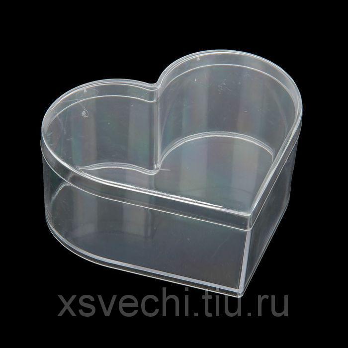"""Шкатулка пластик для мелочей """"Сердце"""" прозрачная 4,8х11х10 см"""