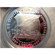 США доллар 1987 Конституция серебро