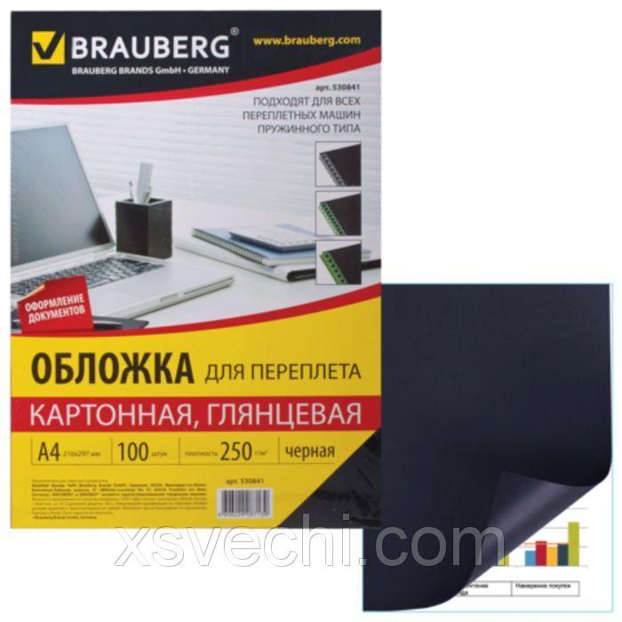 Обложки для переплета 100 штук, глянцевые, А4, картон 250г/м2, черные
