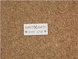 Шильдик картонный Handmade wiht love прямоугольный