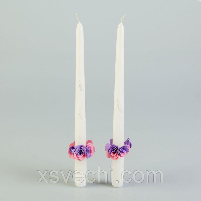 Набор свадебных парафиновых свечей с декором, белые с красными цветами, 2 шт. в упаковке