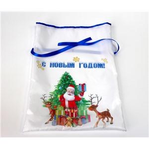 Новогодний мешок для конфет и подарков 30х40 см. Дед Мороз и елка