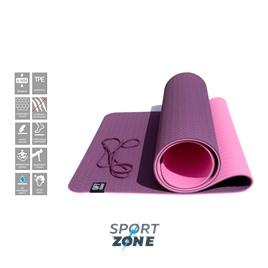 Коврик для йоги 6 мм двуслойный TPE бордово розовый
