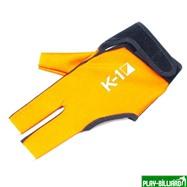 Weekend Перчатка бильярдная «K-1» (черно-оранжевая, вставка кожа), интернет-магазин товаров для бильярда Play-billiard.ru. Фото 1