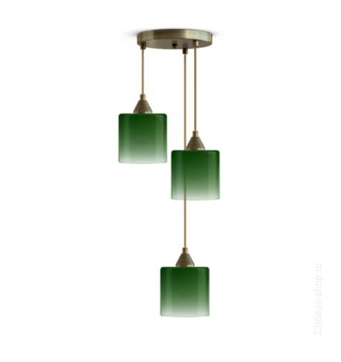 Подвесной светильник идея 03 с тремя плафонами глубокого зеленого цвета