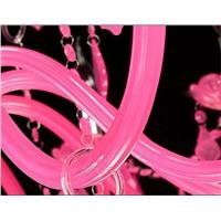 "Подвесная хрустальная люстра ""классика""розовая с абажурами"