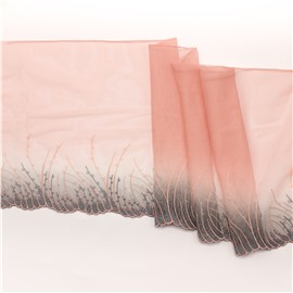 Пепельно-розовое кружево с узорами 21 см