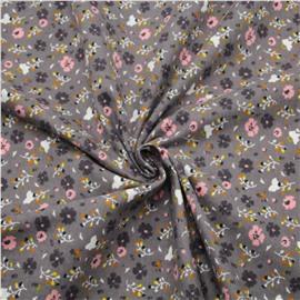 Фланель мелкие цветочки на сером