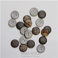 Пуговица 20 мм, Серебро, кокос, арт. ПК Е-67