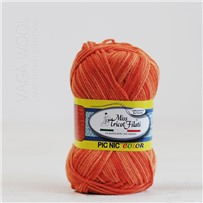 Пряжа Pic-Nic Color 105 Оранжевый секционный 115м/50гр., хлопок 100%, Miss Tricot Filati